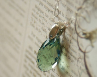 Green Swarovski Crystal Briolette Pendant Necklace on Sterling Cable Chain By Inspired Jewelry Designs
