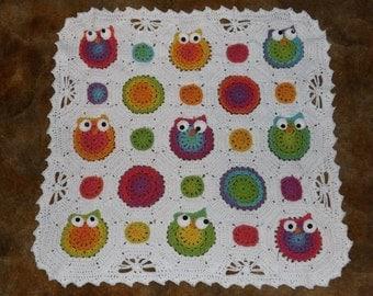 Owl Obsession, Crochet Owl Blanket, Owl Baby Blanket,