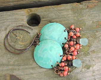 ladies Cabo Blue AAA+ grade Chalcedony and Pink Coral Dangle Handmade Summer Beach Earrings