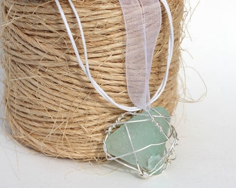 Aqua Sea Glass Necklace Silver Pendant