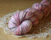 Fingering Weight Yarn / Speckled Pink Rose Blush Mauve Charcoal Sixteen Candles / Superwash BFL wool bamboo sock yarn / NEW