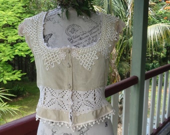 alternative arty blouse, hand worked vintage lace + crochet, bohemian top, s / m