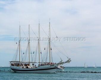 Nautical Pirate Ship Photo Print - Chicago Coastal Beach Photography