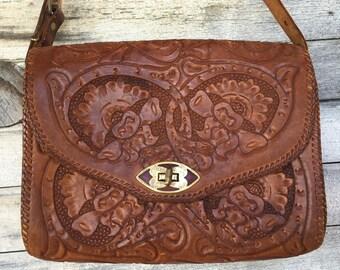 Vintage Hard Tooled Leather Shoulder Purse Bag