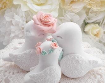 Family Love Birds Cake Topper, Wedding, White, Peach and Mint Green, Bride and Groom Keepsake, Fully Custom