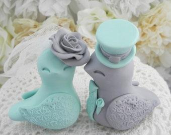 Love Birds Wedding Cake Topper, Seafoam Green and Grey, Bride and Groom Keepsake, Fully Customizable