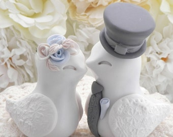 Love Birds Wedding Cake Topper, White, Pale Blue and Grey, Bride and Groom Keepsake, Fully Customizable