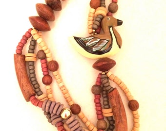 Duck Wood Carved Animals Necklace American Wooden Beads Ethnic Handmade Jewelry