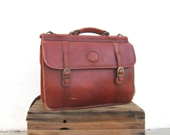 Briefcase Satchel Cognac Leather Large Work Laptop Bag