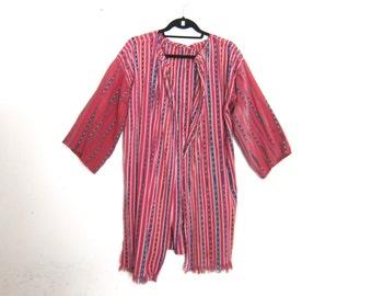 Ethnic Duster Robe Cardigan Woven Watermelon Pink Guatemalan Cotton Ladies OSFM