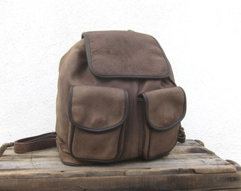 Leather Rucksack Backpack Distressed Brown Daypack