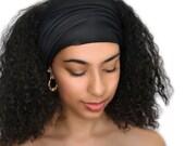 Black Turban Head Band, Yoga headband, Wide Headband, Exercise Headband, Pretied Turban 298-03a