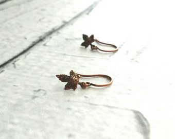 Maple Leaf Earrings - little tiny micro mini antique copper leaves - charm dangle extra small size minimalist aged rustic tree autumn child