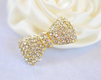 Gold Rhinestone Flatback Crystal Bow Embellishment Flatback Button DIY Jewelry Hair Bridal Wedding Gift Craft Supplies
