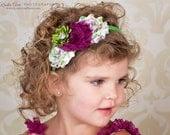 Shabby Chic Headband, Fuchsia and Apple Green Shabby Headband, Kids & Little Girl Headbands, Girls Hard Headband, Toddler Headband, School