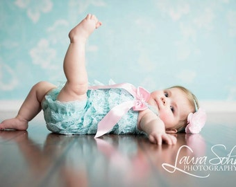Aqua Lace Romper for Baby Girls/Ruffle Romper/1st Birthday Outfit/Newborn Photo Prop/Pink Flower Headband/Lace Petti Romper/Toddler Rompers