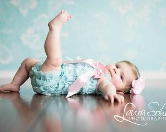 Baby Girls Aqua Romper & Headband, 1st Birthday Outfit, Baby Romper, Little Girls Romper, Toddler Romper, Lace Romper, Photo Prop, Baby Gift