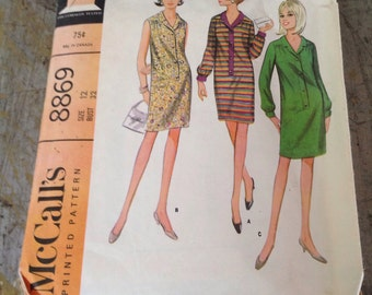 Vintage McCall's Sewing Pattern 8869 Misses' Dress  Size 12 Bust 32