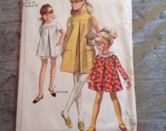 Vintage Simplicity Sewing Pattern 7369 Girl's Size 12 Dress Shorts