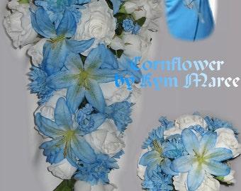 New Artificial Cornflower Bridal Bouquet, Cornflower Wedding Flowers, Cornflower Wedding Bouquet