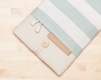 "Macbook pro 15 inch case,  Macbook 15"" sleeve, macbook pro retina cover, macbook 15 sleeve - cream stripes"
