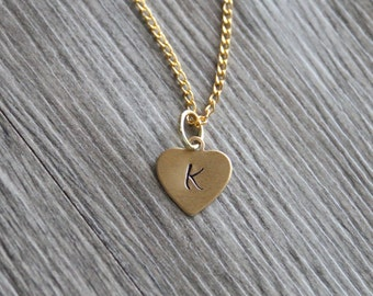 Initial Gold Necklace Gold Tone, Personalized Initial Necklace,Customized Necklace, Brass Initial Heart Pendant, Necklace Gold Tone