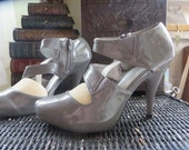 Patent Leather Smokey Sunrise Platform High Heels Size 8 Strappy Heels Grey Leather High Heel Ankle Boots size 8 womens ankle boots 8