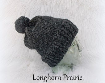 Chunky Knitted Beanie hat Charcoal gray (adult size) RTS