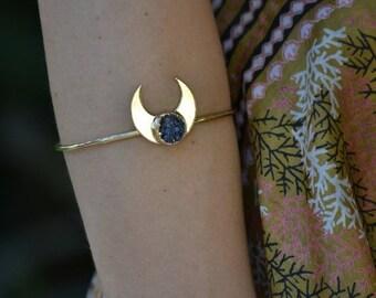 MOONBEAM WARRIOR  /// Lux Divine Bangle Style Gemstone Bracelet /// Gold dipped /// Druzy