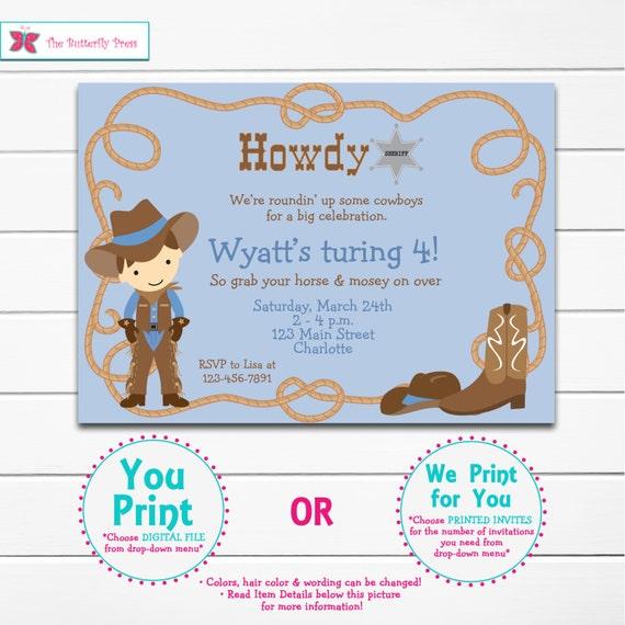 cowboy birthday invitation -- cowboy party -  cowboy boots cowboy hat - You print or I print