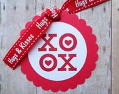 Valentine Tags Hugs & Kisses XO Sweethearts Day February 14 Kid's Valentine's Hearts