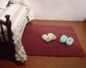 Dollhouse slippers blue yellow pink or white miniature 1:12 scale full scale