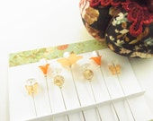Jewel Decorated Sewing Pins in Peach with Crystals and Butterflies