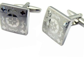 Silver Square Flower Cuff links 1200011