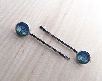 hairpins with photo (tree), pair of bobbypins silver color with 12mm glass cabochon