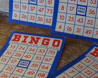 Vintage Bingo Cards Red White Blue Set of 5