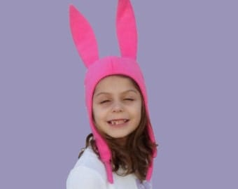 Louise Belcher Hat- Pink Bunny Ears Hat -- Ship same day.