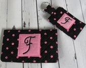 Ready to Ship //  Black and Pink Dot Quilted Checkbook Cover and Pocket Key Fob Set - Initial F