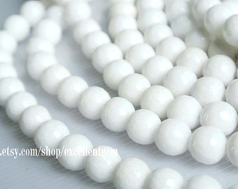 Faceted Round beads, Full strand White color jade, 10mm Round beads, White color beads.