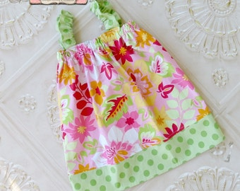 Girls Flutter Sleeve Dress, Toddler Girls Dress, Baby Girls Dress, Sundress, Tropical Sundress
