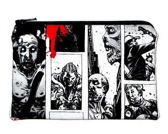 50% 0ff Sale - The Walking Dead Zombies Zipper Pouch, Black and Gray - Ready to Ship