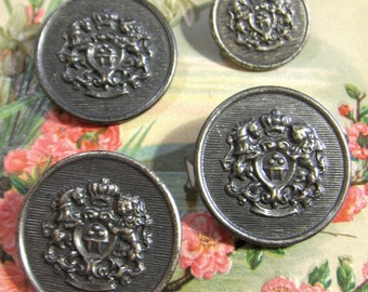 Vintage Crest Design Silver Metal Buttons Set of Four