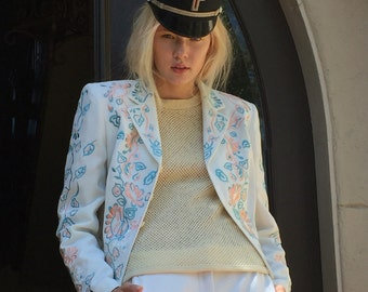 White embroidered Blazer