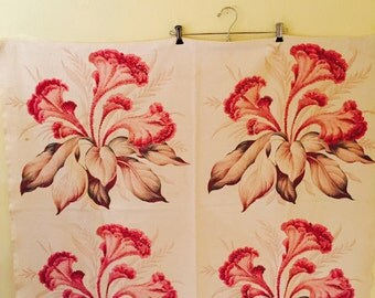Vintage Bark Cloth Curtain Panels, Textured Cotton, Each Panel 38 Inches Long, 44 Inches Wide, Tropical Floral, Pink And Tan