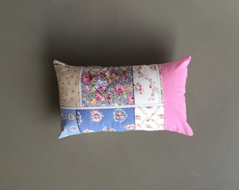 floral shabby patchwork cushion cover -  pastel pink, green and blue lumbar pillow cover - cushion cover - floral oblong patchwork pillow