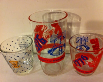 Vintage Set of 3 Bi-centennial Sour Cream Glasses