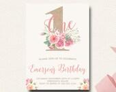 First  Birthday Invitation Floral Shabby Chic Invite Boho Chic Burlap Blush Flower Crown