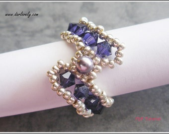 Beaded Ring Tutorial Pattern -  Purple S Ring (RG181) - Beading Jewelry PDF Tutorial (Instant Download) (Buy 3 get 1 Free)