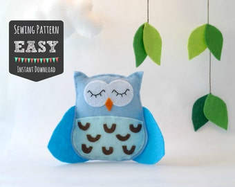 Owl Sewing Pattern - Owl Stuffed Animal Hand Sewing Pattern - Felt Owl Pattern - Owl Plushie - Owl Softie - PDF Pattern