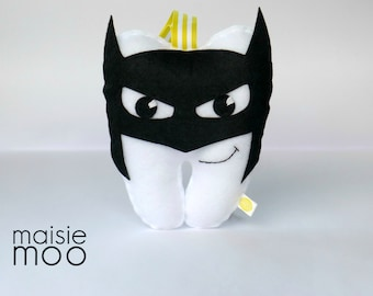 Batman Tooth Fairy Pillow - Tooth Pillow - Fairy Pillow - Superhero - Lost Tooth - Loose Tooth - Boys Tooth Pillow - Tooth shaped Pillow